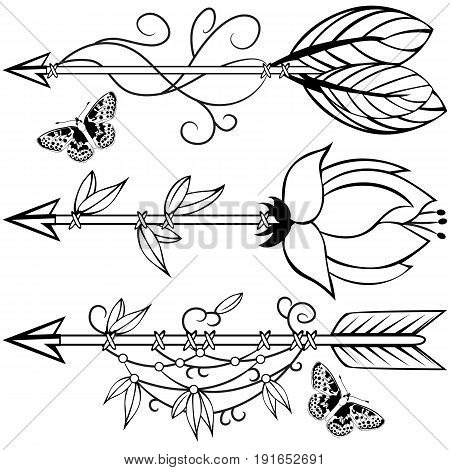 Vector of hand drawn wooden arrow with feathers flowers and leaves in boho style