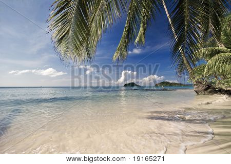 On the tropical beach. Siam bay. Province Trat. Koh Mak island. Kingdom Thailand