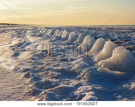 Winter wonder. Wonderful nature creation. By the sea  on ice.