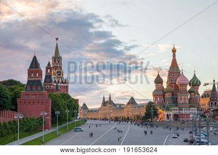 MOSCOW, RUSSIA - JUNE 17: Beautiful sunset view of the Red Square on June 17, 2017 in Moscow, Russia.