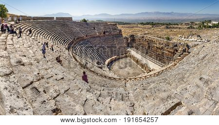 PAMUKKALE, TURKEY - OCTOBER 1: Theatre is being restored in ancient Hierapolis on October 1, 2011 in Pamukkale, Turkey.