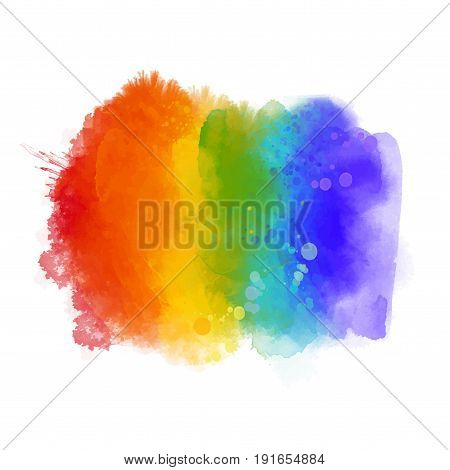 Rainbow paint texture, gay pride symbol. Hand painted strokes isolated on white background. Vector 6 colors spectrum