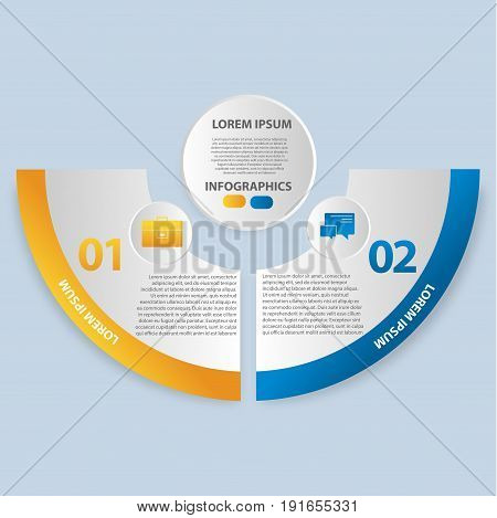 Vector Illustration. Infographics In The Form Of A Circle And 2 Segments. Template For Graphs, Prese