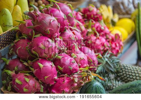 Exotic fruits on the counter Nha Trang Vietnam