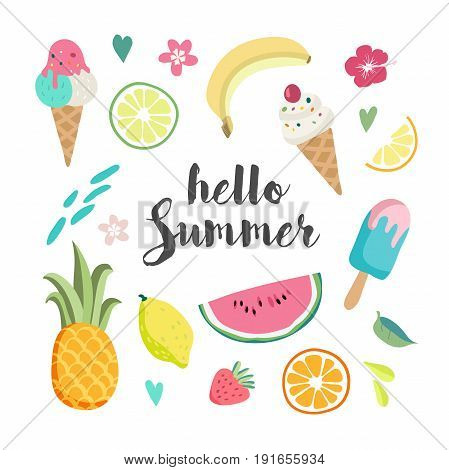 Summer set with hand drawn tropical elements , lettering, watermelon, banana, lemon, pineapple and much more.
