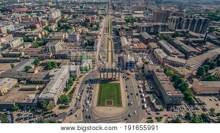 Aerial view of Moscow Triumphal Gate in Saint-Petersburg