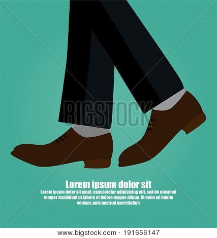 Close-up Of Business Man With Black Leather Shoes Walking Isolated On Green Background
