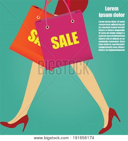 Sexy Women Legs With Red High Heels And Shopping bags Business Concept