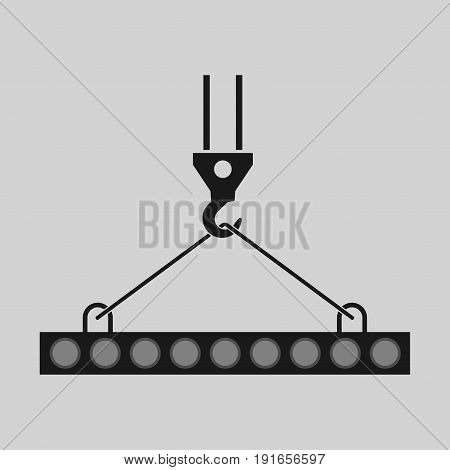 pictograph crane hook lifting work Crane installation works building fully editable image