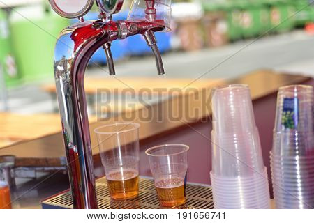 Blond and red beer taps in one traditional Bistro