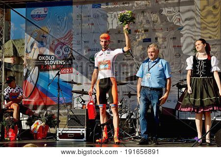 BANSKA BYSTRICA, SLOVAKIA - JUNE 08, 2017: Piotr Brozyna from Poland celebrate leadership in general classification after second stage of road cycling championship - Tour of Slovakia