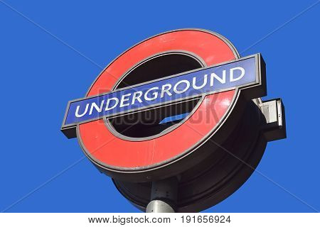 LONDON, ENGLAND - May 25,2017: sign of Underground of London, is a public rapid transit system serving London, England