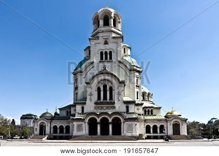 Sofia, Bulgaria - April 10, 2017: Alexander Nevsky Cathedral in city of Sofia, Bulgaria.Was erected in honor of the liberation of Bulgaria during the Russo-Turkish War: the first stone was laid in 1882, but the construction itself began in 1904.