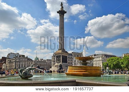 LONDON, ENGLAND - May 25,2017: fountain at Trafalgar Square, City of Westminster, Central London, UK