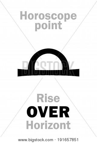 Astrology Alphabet: Rise OVER Horizont, The time in astrological chart. Hieroglyphics character sign (single symbol).