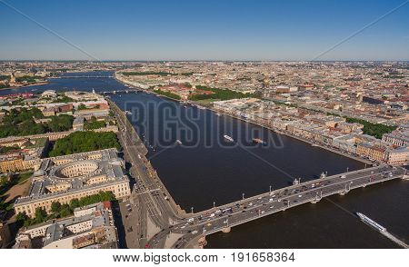 Aerial view of the center of Saint-Petersburg