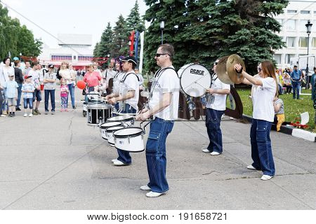 Ulyanovsk Russia - June 12 2017: Street musicians - drummers at the celebration of Russia Day - the national holiday of the Russian Federation. It has been celebrated annually on June 12 since 1992.
