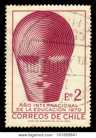 CHILE - CIRCA 1970: a stamp printed in the Chile shows emblem of international education year in Chile, circa 1970