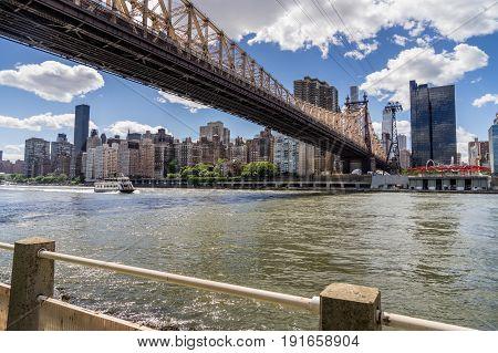 View of 59th Street Bridge Manhattan Skyline From Roosevelt Island
