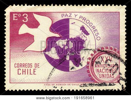 CHILE - CIRCA 1970: a stamp printed in the Chile shows dove and world map, 25th anniversary of the UN, circa 1970