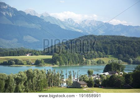 A View of Lac de la Gruyère (Lake of Gruyère) in Switzerland on a Summer Day