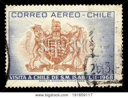 CHILE - CIRCA 1968: a stamp printed in the Chile shows british coat of arms, Dedicated to the Visit of Queen Elizabeth II, circa 1968