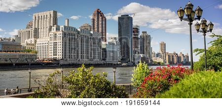 New York NY USA - June 3 2017. East Side Manhattan Skyline and East River From Roosevelt Island