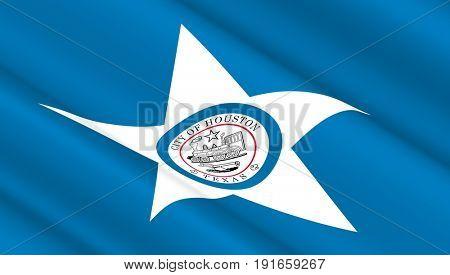 Waving flag of Houston. 3D illustration.