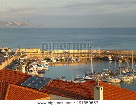 Marina at the Old Port of Heraklion in the Morning Sunlight, Crete Island of Greece
