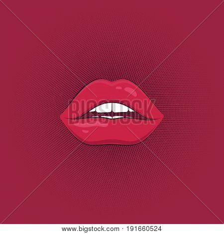 Print of sexy pink lips. Cartoon style. Vector illustration.