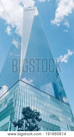 NEW YORK, NOVEMBER 2017- The Freedom Tower, or properly known as One World Trade Center, stands as a replacement landmark for the former Twin Towers, infamously known for the 911 terrorist attack in the United States.