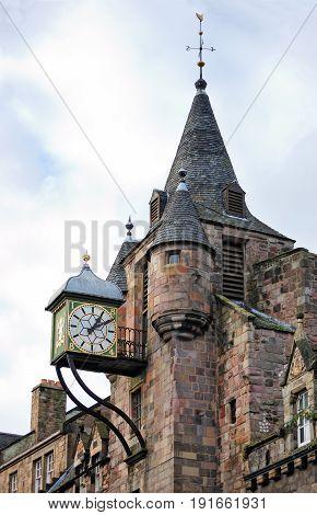 The Canongate Tolbooth's Clock Royal Mile Edinburgh Scotland UK
