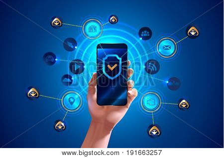 Smartphone is protected from hacker attacks protected from viruses and spam Antivirus. Hand holds smartphone. Shield icon on screen smart phone. Mobile security