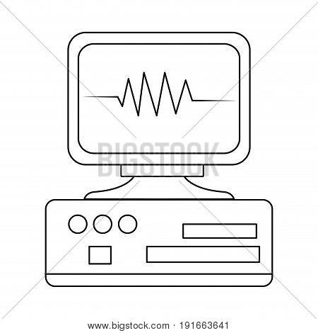 monitor heartbeat cardiology rhythm pictogram vector illustration