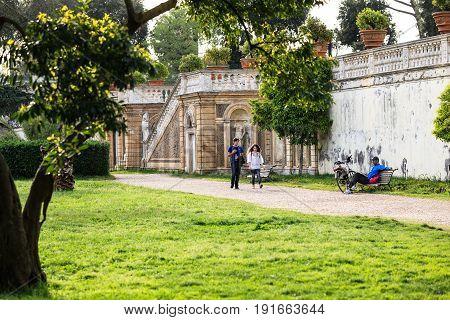 Italy, Rome - April , 29, 2013: Villa Doria Pamphili and its secret gardens. Largest and one of the most picturesqueroman park, architects are Alessandro Algardi and Giovanni Francesco Grimaldi