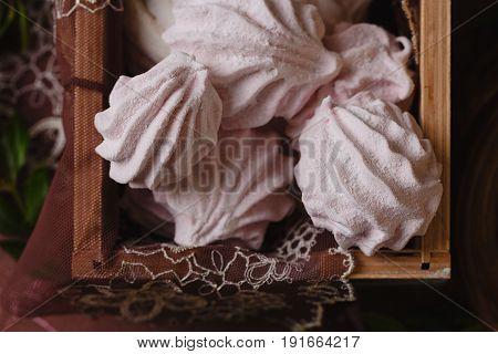 Closeup Homemade Marshmallow In Wooden Box