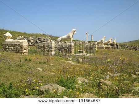 Terrace of the Lions with the Famous Lions of the Naxians' Statues, Archaeological Site of Delos, Delos Island, Greece