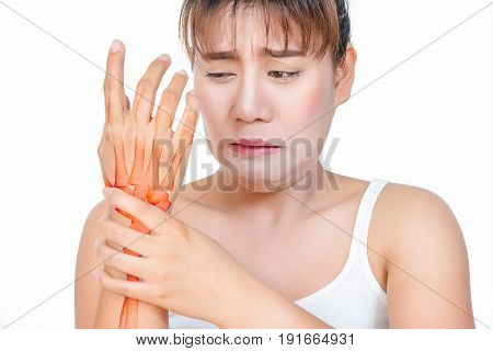 Asian woman having hand pain and see the bone.