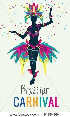 Rio de Janeiro, Brazil - February 9, 2016: Beautiful Brazilian woman of African descent wearing colourful costume and smiling during Carnaval 2016 street parade in Rio de Janeiro, Brazi