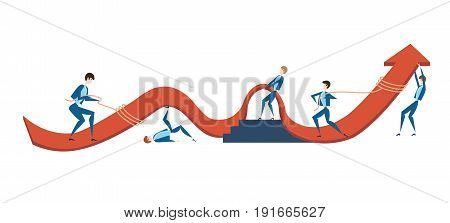 Business people are trying to raise the graph of growth of income of the company. The concept of teamwork. Vector illustration, isolated on white background.