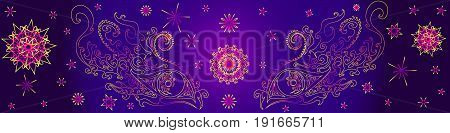 Psychedelic eyes of a shaman surrounded by fractals on a purple background mystical eyes vector illustration eyes ethno yellow pink outline.