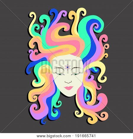 The face of a hippie girl with iridescent hair with a flower in the forehead. Rainbow vector art portrait. Cartoon psychedelic doodle style. Design futuristic girl.