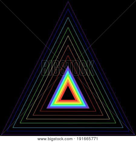 Rainbow triangle in another triangle consisting of rainbow colors isolated on a black background. Vector multicolor triangle