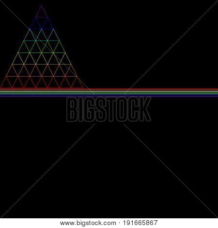 The rainbow triangle consisting of many small triangles consisting of the color of the rainbow is underlined by lines of rainbow colors isolated on a black background. Vector multicolor triangle