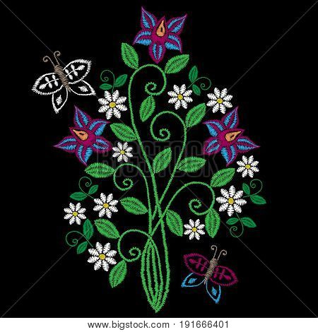 Embroidery stitches imitation folk flower and butterfly with green leaf. Fashion embroidery flower on black background. Embroidery flower vector.