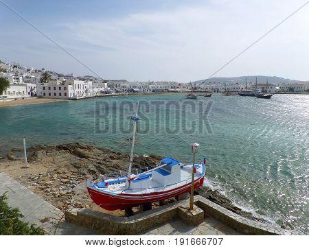 Panoramic View of Mykonos Old Port, Mykonos Island, Greece