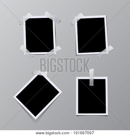 Set of vintage photo frames sticked on tape. Vector illustration.