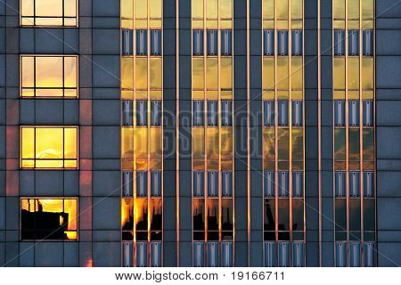 reflections in glass wall