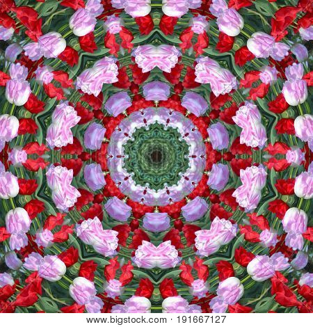 Surface Tulips Kaleidoscope Pattern,for Scrapbook, Wallpaper, Cases For Smartphones, Web Background,