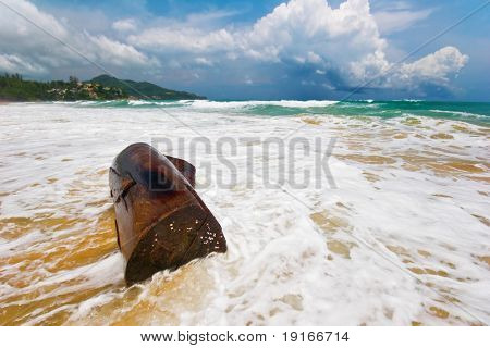 Old snag on the sand tropical beach in bad weather. Phuket island. Andaman sea. Kingdom Thailand